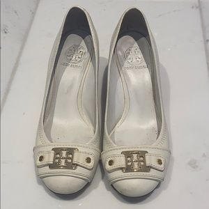 Tory Burch white wedge shoes